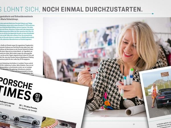 Veröffentlichung über Helga Maria Schatzlmayr in der Porsche Times 1/2018