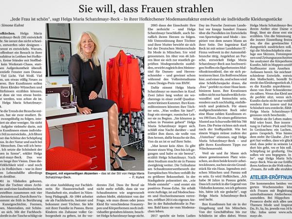 Sie will, dass Frauen strahlen - Presseartikel Vilshofener Anzeiger